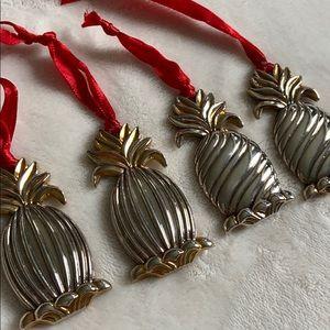 Set of 4 Lenox pineapple 🍍 ornaments